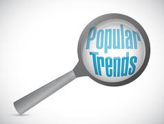 popular trends magnify review sign concept - stock illustration