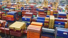 High angle shot of Port container yard Stock Footage