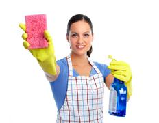 Maid woman with sponge and spray. - stock photo