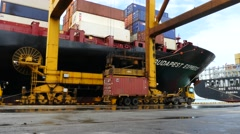 Port Container Movement with MSC box Stock Footage
