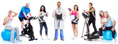 Group of healthy fitness people. Stock Photos