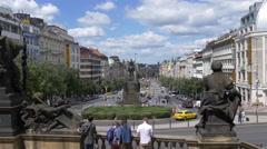 Admiring the Wenceslas Square from the old building of National Museum in Prague Stock Footage