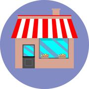 Icon shop building retail Stock Illustration