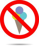 Ban ice cream sign - stock illustration