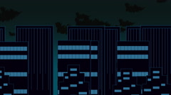 Animated panning cartoon of downtown city high rises Stock Footage