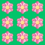 Pink flowers on green background - stock illustration