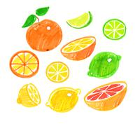 Childlike drawing of citrus fruit. - stock illustration