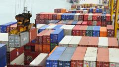 Port Container Yard and twin lift crane - view from Vessel8) Stock Footage