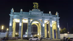 Entrance to All-Russia Exhibition Centre timelapse hyperlapse. MOSCOW, RUSSIA Stock Footage