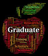 Graduate Word Shows Text Graduating And Degree - stock illustration