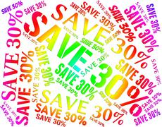 Stock Illustration of Save Thirty Percent Indicates Promotional Savings And Promotion