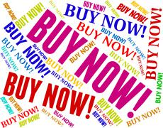 Buy Now Indicates At The Moment And Buying - stock illustration