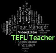 Stock Illustration of Tefl Teacher Indicates Give Lessons And Coach