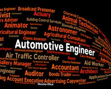 Stock Illustration of Automotive Engineer Represents Position Motor And Automobile
