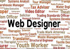 Web Designer Means Designs Website And Occupation - stock illustration