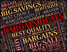 Bargain Deals Indicates Contract Reduction And Sale Stock Illustration