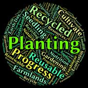 Planting Word Represents Sow Flora And Text - stock illustration