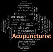 Acupuncturist Job Represents Alternative Medicine And Acupressure - stock illustration