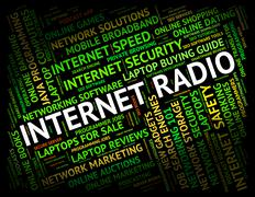 Internet Radio Means World Wide Web And Telephony - stock illustration