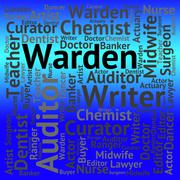 Warden Job Shows Keeper Words And Occupations Stock Illustration