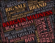 Bargain Madness Shows Discount Crazy And Sale - stock illustration