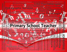 Primary School Teacher Shows Position Occupation And Word - stock illustration