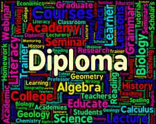 Stock Illustration of Diploma Word Represents Certificate Certificates And Text