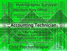 Accounting Technician Represents Balancing The Books And Accounts Stock Illustration