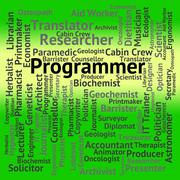Programmer Job Indicates Words Occupation And Occupations - stock illustration