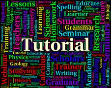 Tutorial Word Indicates Online Tutorials And Educate Stock Illustration