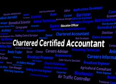 Chartered Certified Accountant Shows Balancing The Books And Accountants Stock Illustration