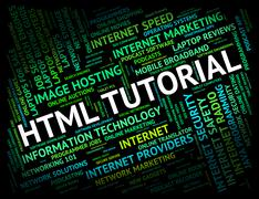 Html Tutorial Shows Hypertext Markup Language And Develop - stock illustration