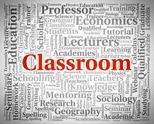 Classroom Word Represents School Text And Academies - stock illustration