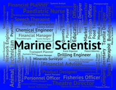 Stock Illustration of Marine Scientist Shows Ocean Text And Jobs