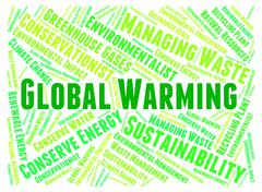 Global Warming Represents Atmosphere Words And Hot - stock illustration