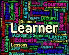 Stock Illustration of Learner Word Shows Schooling University And College