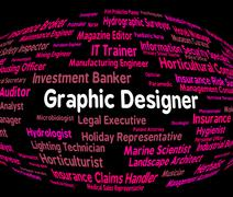 Graphic Designer Shows Recruitment Word And Employment Stock Illustration