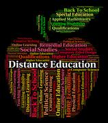 Distance Education Words Shows Correspondence Course And Development Stock Illustration