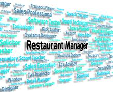 Restaurant Manager Means Cafes Chief And Managers - stock illustration
