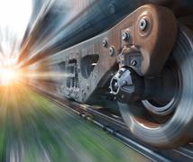 Industrial rail train wheels closeup Stock Illustration