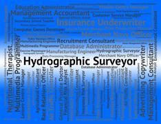 Hydrographic Surveyor Indicates Assesser Surveying And Maritime - stock illustration
