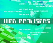 Web Browsers Represents Text Network And Webpage - stock illustration
