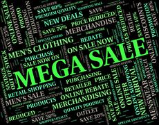Mega Sale Represents Promo Promotional And Words Stock Illustration