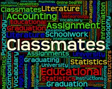 Classmates Word Shows Words Schoolmate And Schoolmates - stock illustration