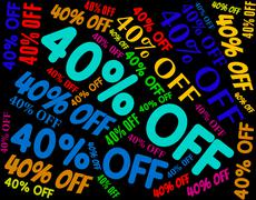 Forty Percent Off Means Save Bargain And Reduction - stock illustration