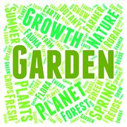 Garden Word Means Gardens Lawns And Gardening - stock illustration