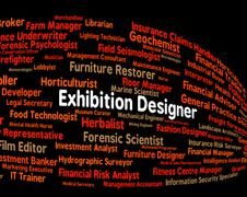 Stock Illustration of Exhibition Designer Shows Trade Fair And Demonstration