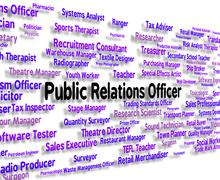 Stock Illustration of Public Relations Officer Indicates Press Release And Career