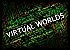 Virtual Worlds Indicates Independent Contractor And Freelance Stock Illustration