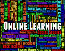 Online Learning Indicates World Wide Web And College - stock illustration